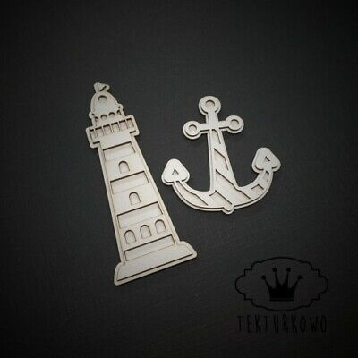 2x Lantern & Anchor Chipboard Die Cut-out Wooden Craft Shapes Card Topper Shape • 2.20£