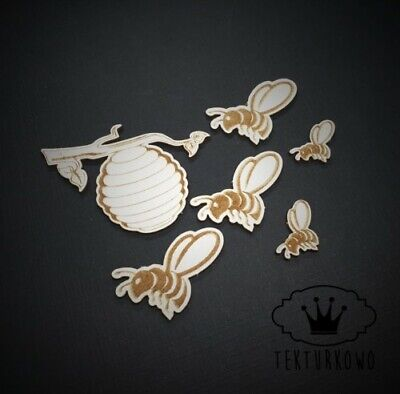 Honey Bee Cocoon Chipboard Die Cut-out Wooden Craft Shapes Card Topper Shape • 1.99£