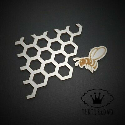 2x Honey Bee Hexagon Chipboard Die Cut-out Wooden Craft Shapes Card Topper Shape • 2.60£
