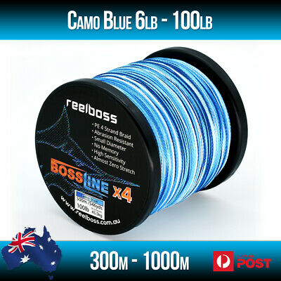 AU26.95 • Buy ReelBoss Camo Blue Braid Fishing Line 10lb 20lb 30lb 40lb 50lb 100lb 300m 500m