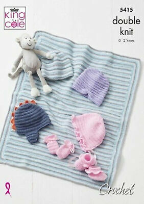 King Cole Baby Double Knit Crochet Pattern Hat Mitts Bootees & Blanket DK 5415 • 3.89£