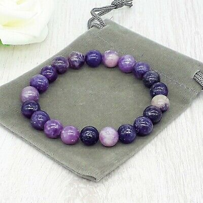Handmade Natural Lepidolite Gemstone Stretch Bracelet & Velvet Pouch. 6/8mm. • 4.99£