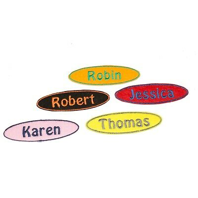 Personalised Embroidered Name Oval Patch Badge Many Colours Iron On Sew On A5 • 2.69£