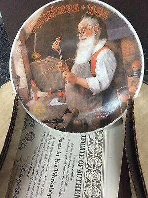 $ CDN14.40 • Buy Norman Rockwell Christmas 1984  Special Edition Plates Santa In His Workshop
