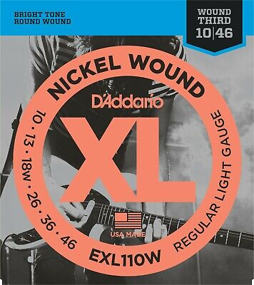 $ CDN9.53 • Buy D'Addario EXL110W Electric Guitar Strings Wound 3rd String 10-46 Light