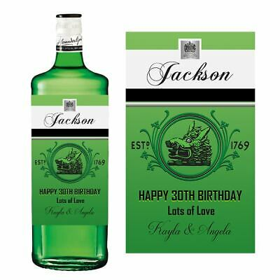 Personalised Name Gordons Gin Bottle Green Label Birthday • 2.95£