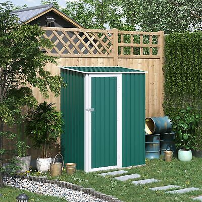Outsunny Steel Garden Stool Storage Shed Sloped Roof Green 143x89x186cm • 199.99£