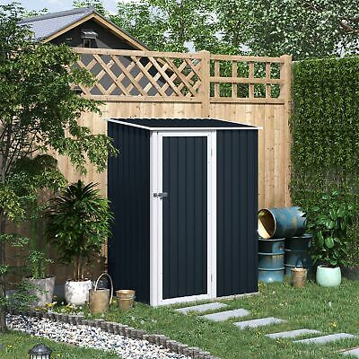 Outsunny Steel Garden Stool Storage Shed Sloped Roof Grey 143x89x186cm • 199.99£