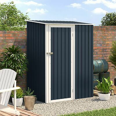 Outsunny Steel Garden Storage Shed Garden Stool Storage Sloped Roof Grey • 204.99£