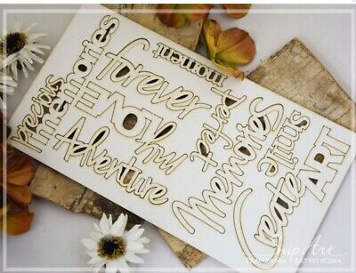 1x  CREATE ART  Set Phrase Word Chipboard Die Cut-out Wooden Craft Shapes Polish • 5.20£