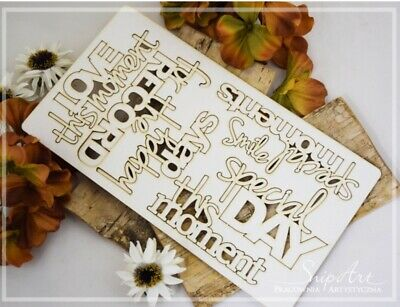 1x SPECIAL DAY Set Phrase Word Chipboard Die Cut-out Wooden Craft Shapes Polish • 5.20£
