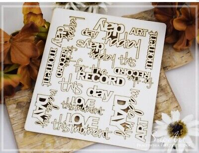 FOR THE RECORD Set Phrase Word Chipboard Die Cut-out Wooden Craft Shapes Polish • 3.10£
