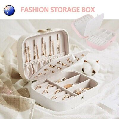 AU13.89 • Buy Portable Jewelry Box Travel Organizer Leather Jewellery Ornaments Storage Case