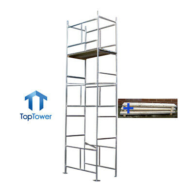 Scaffold Tower + Boards 5.5m - 4 X 2ft 6in X 18ft Work Ht DIY Galvanised Steel • 269£