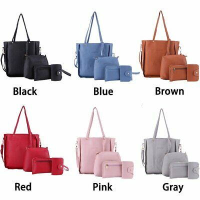 AU15.59 • Buy 4PCS/Set Women PU Leather Handbag Shoulder Bag Purse Messenger Satchel Clutch AU