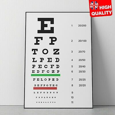 Eye Chart Optician Glasses Test Science Poster | A5 A4 A3 A2 A1 | • 7.99£