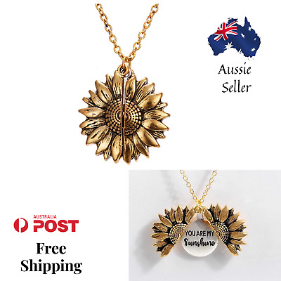 AU8.55 • Buy Sunflower Pendant Necklace Open Locket Gold Chain Vintage You Are My Sunshine