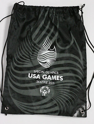 Special Olympics Collectible Seattle 2018 Cinch Bag Backpack Black Grey White • 4.85£
