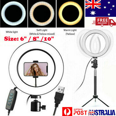 AU24.69 • Buy 6 /10  Dimmable Diva LED Ring Light Tripod Stand Selfie Mini Circle Lamp Make Up