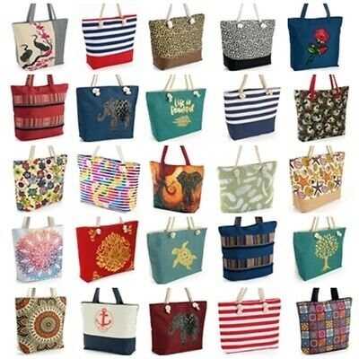 £11.99 • Buy 74 Styles - Reusable Tote Shopping Bags Canvas Denim Beach Travel Grocery Animal