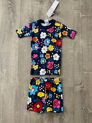 $19.99 • Buy New Girls Hanna Andersson PJs Blue Two-piece Short Sleeves Shorts Flowers US 4T