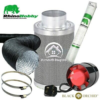 £49.95 • Buy Rhino Hobby Carbon Filter Kit Air Odour Extraction Fan Combi Ducting Hydroponics