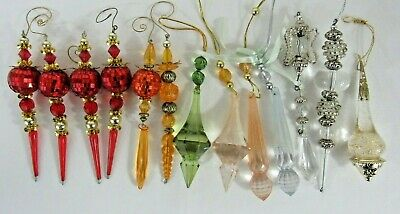 $15.85 • Buy 13 VINTAGE  Acrylic Plastic Christmas Ornaments VICTORIAN ICICLE PRISM STYLE