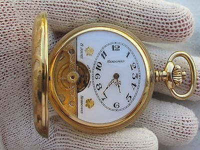 AU777.47 • Buy HEBDOMAS 8 JOURS(8 DAYS)POCKET WATCH S/S&GOLD PLATED SIZE 50mm