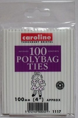 100 X POLYBAG TIES/WIRES 100MM(4 ) FREEZER/FOOD BAGS Closures (100) • 1.65£