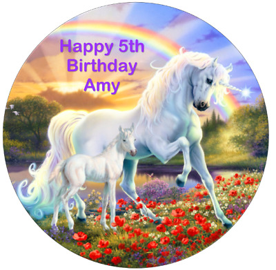 AU7.59 • Buy Unicorn Personalised 19cm Edible Wafer Birthday Party Cake Topper Decoration