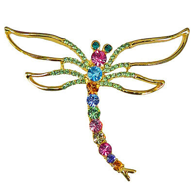 £14.16 • Buy RUCINNI Dragonfly Brooch With Swarovski Crystals And 20K Gold Plated