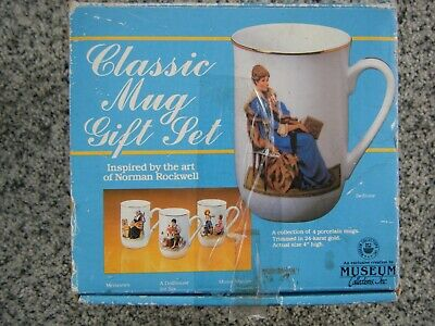 $ CDN19.33 • Buy Vintage Norman Rockwell Museum Set Of 4 1986 Coffee Mugs New In Box