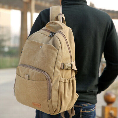 AU30.99 • Buy Vintage Durable Canvas Backpack Rucksack Laptop Notebook School Travel Unisex AU