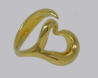 Tiffany & Co 18ct Gold Elsa Peretti Large Open Heart Ring 10.3 Grams Size K 1/2 • 1,150£