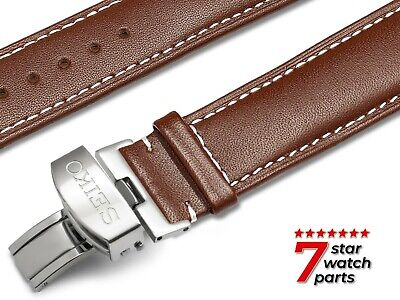 $ CDN37.66 • Buy For SEIKO Watch DARK BROWN Leather Strap Band Buckle Clasp DIVER Grand