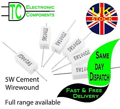 $2.25 • Buy 5W Wirewound Cement Resistors Horizontal 5% Tolerance Full Range Available