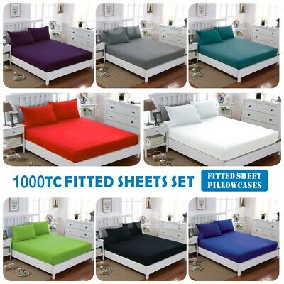 AU32.82 • Buy 1000TC SOFT 3 Piece Fitted Sheet Set Single/KS/Double/Queen/King/SK Bed(No Flat)