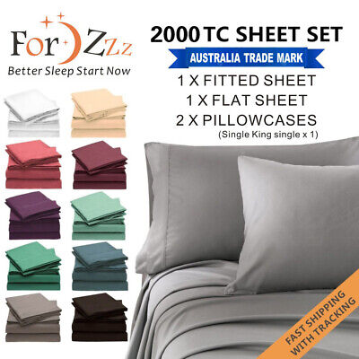 AU34.99 • Buy 1000TC 4PCS Single/KS/Double/Queen/King Bed Flat Fitted Sheet Set Pillowcase Bed