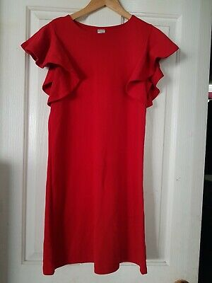 AU15 • Buy Clothing & Co Size 8 Red Frill Sleeve Dress Used In Excellent Condition