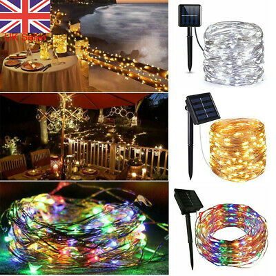 £6.99 • Buy LED Solar Power String Fairy Lights Copper Wire Party Garden Christmas Decor UK
