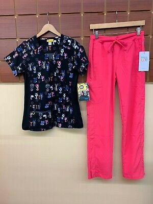 $2.25 • Buy NEW Pink Print Scrubs Set With Wink XS Top & Barco One XS Pants NWT