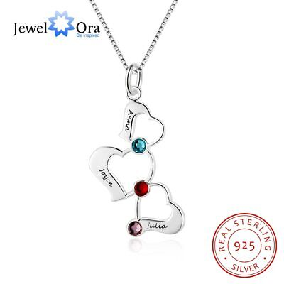 $12.99 • Buy Sterling Silver Women Necklace 3 Heart Pendant Engraved Name Birthstone Mom Gift