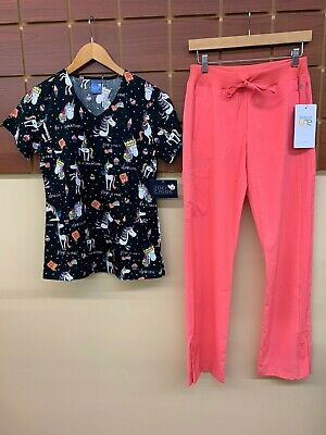 $1.25 • Buy NEW Coral Print Scrubs Set With Wink XS Top & Barco One XS Pants NWT