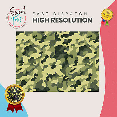 £3.50 • Buy A4 Army Green Camouflage Rectangle Edible Cake Topper Decoration Personalised