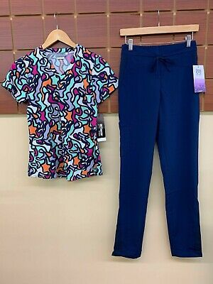 $9 • Buy NEW Navy Blue Print Scrubs Set With Grey's Anatomy XS Top & Barco XS Tall Pants