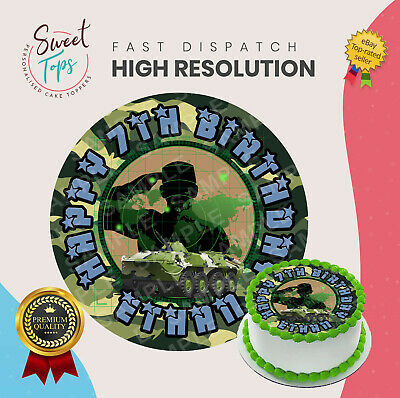 £4.49 • Buy Army Round Edible Birthday Cake Topper Decoration Personalised