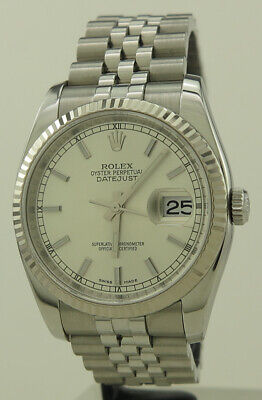 AU10700 • Buy Rolex 116234 Steel & White Gold 36mm Silver Baton Dial Oyster Perpetual Datejust
