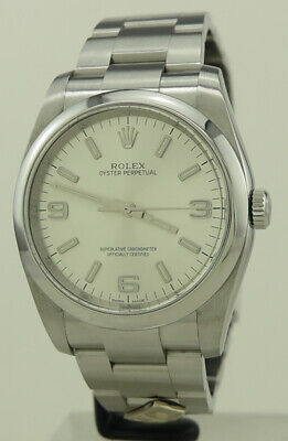 AU7700 • Buy Rolex Ref 116000 Steel Auto Silver 3 6 9 Dial Domino's Oyster Perpetual 36 On Oy