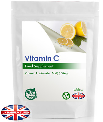 High Potency Vitamin C 500mg Ascorbic Acid Tablets, Memory, Blood, Heart, UK (V) • 3.89£