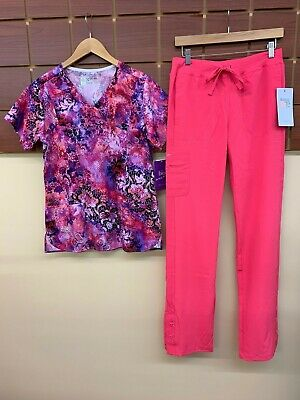 $1.25 • Buy NEW Pink Print Scrub Set With BIO Small Top & Barco One Small Tall Pants NWT